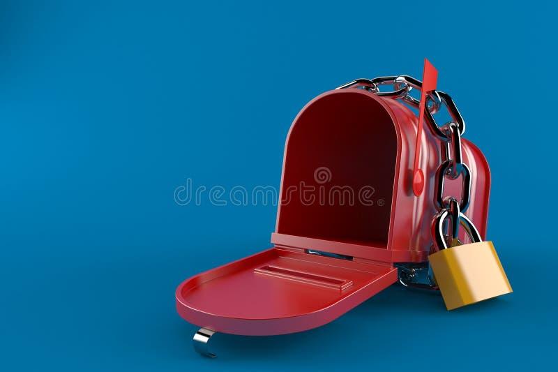 Otwiera skrzynkę pocztowa z łańcuchem ilustracja wektor