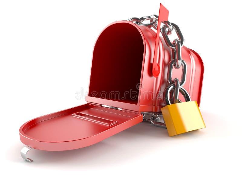 Otwiera skrzynkę pocztowa z łańcuchem ilustracji