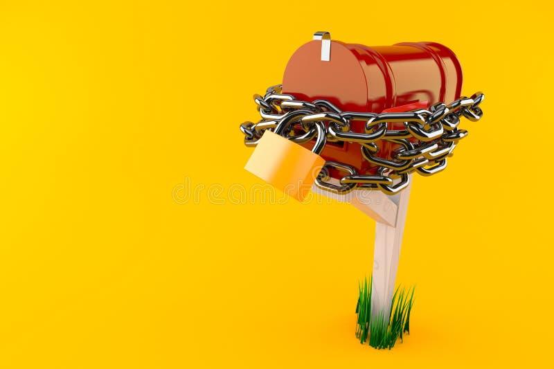 Otwiera skrzynkę pocztowa z łańcuchem i kłódką ilustracja wektor