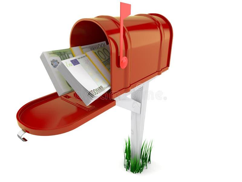 Otwiera skrzynkę pocztowa z euro walutą ilustracja wektor