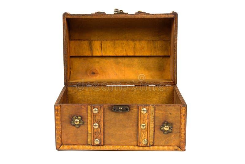 Otwiera starą drewnianą klatkę piersiową na białym tle zdjęcie royalty free