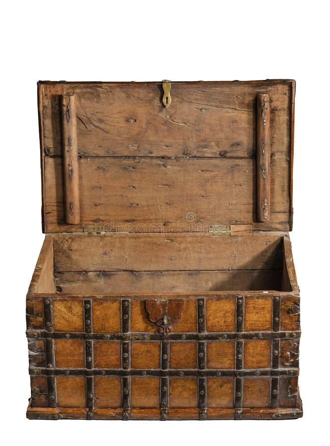 Otwiera starej bagażnik klatki piersiowej starego antyka obraz royalty free