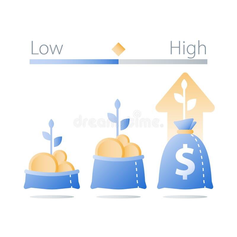 Otwiera torbę z złocistymi monetami, zasadza trzon, zarabia więcej pieniądze i inwestuje fundusz, postu finansowy przyrost, docho ilustracji