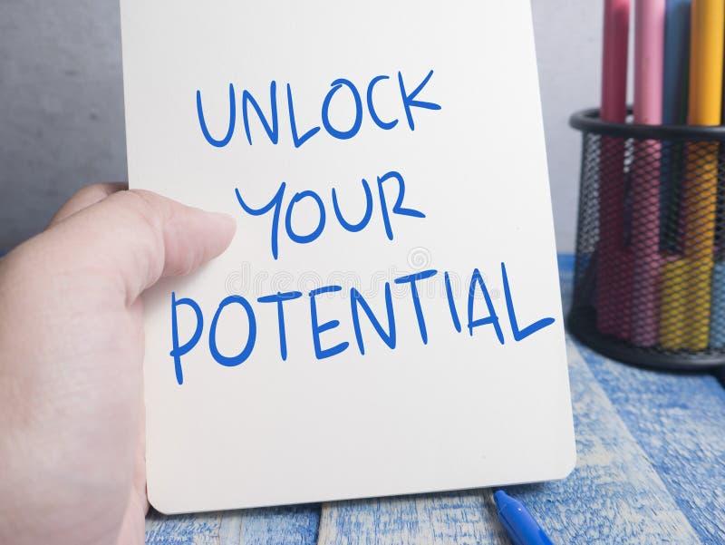 Otwiera Twój potencjał, Motywacyjne Inspiracyjne wycena obrazy stock