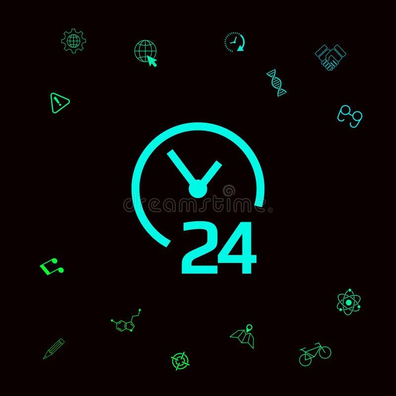 Otwiera wokoło zegarowej ikony Godziny otwarcia symbol ikony Graficzni elementy dla twój designt ilustracja wektor