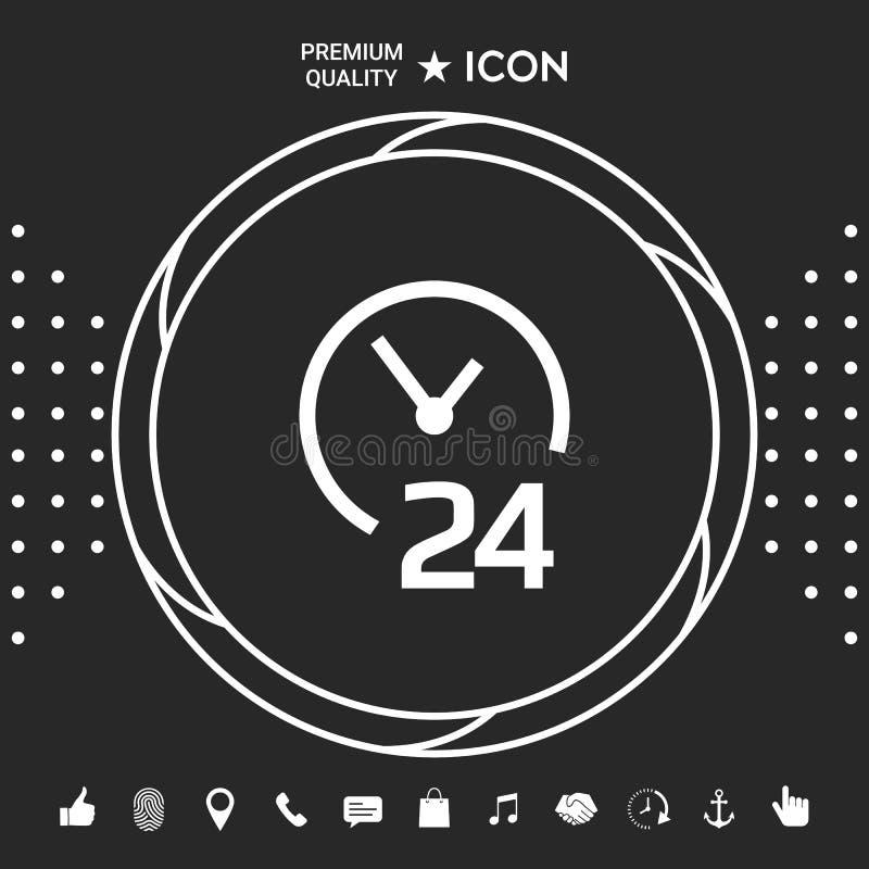 Otwiera wokoło zegarowej ikony Godziny otwarcia symbol ikony Graficzni elementy dla twój designt ilustracji