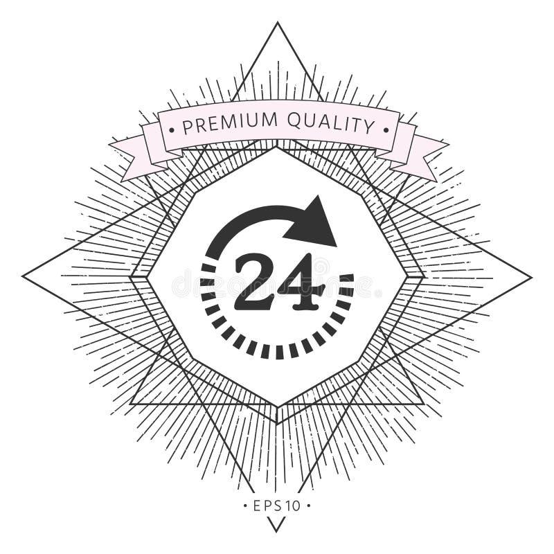 Otwiera wokoło zegarowej symbol ikony Godziny otwarcia symbol ikony royalty ilustracja
