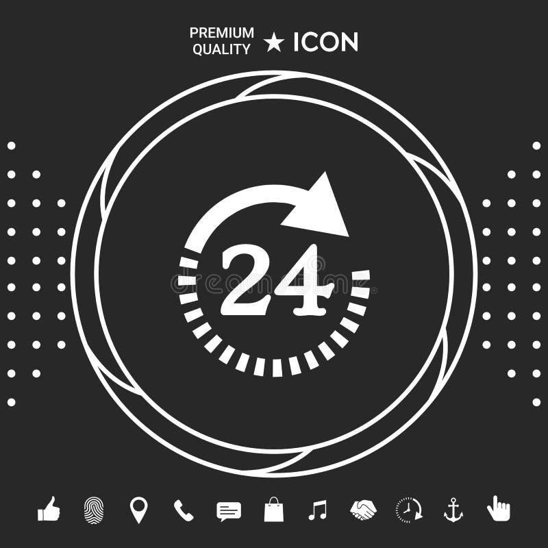Otwiera wokoło zegarowej symbol ikony Godziny otwarcia symbol ikony Graficzni elementy dla twój designt royalty ilustracja