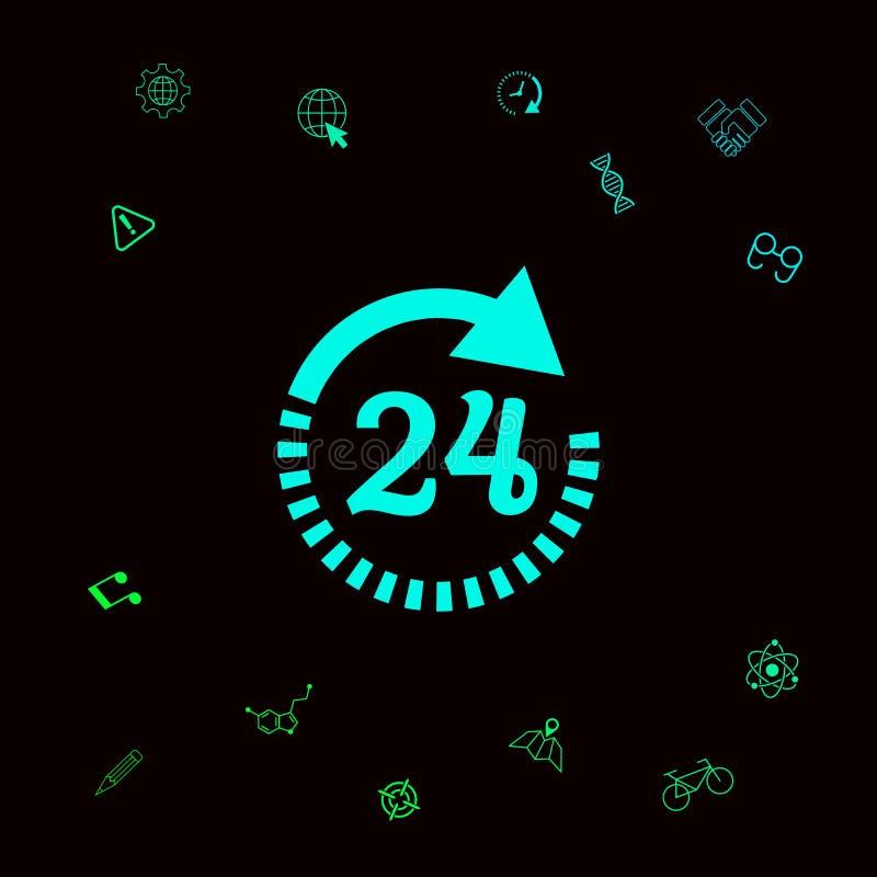 Otwiera wokoło zegarowej symbol ikony Godziny otwarcia ikon Graficzni elementy dla twój designt ilustracji