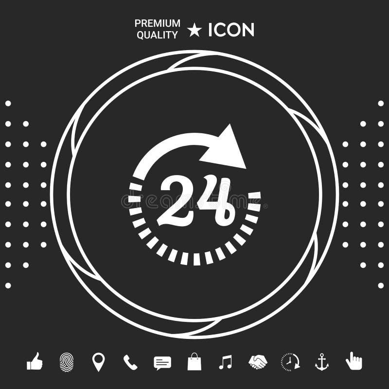 Otwiera wokoło zegarowej symbol ikony Godziny otwarcia ikon Graficzni elementy dla twój designt ilustracja wektor