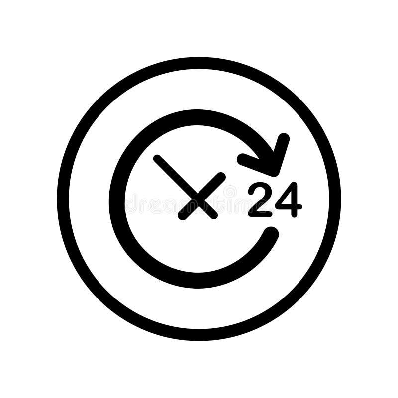 Otwiera Wokoło zegaru dzień ikonę w okrąg linii - wektor ikonowy ilustracja wektor