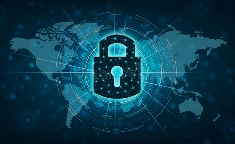 Otwierająca kędziorka interneta prasa komunikować w internecie Cyber ochrony pojęcia ręki ochrony sieć z kędziorka Vir i ikoną royalty ilustracja