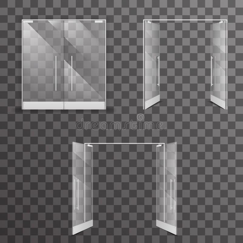 Otwieram zamykał inside - out przejrzyści odosobneni sklepowi dwoistych drzwi architektonicznego projekta realistyczni szklani we ilustracji