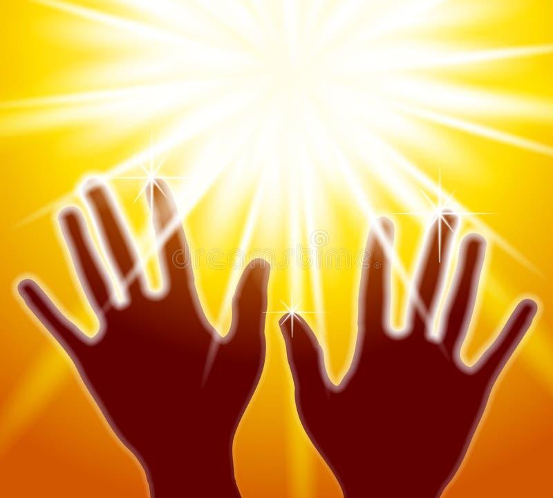 otwieramy ręce światła royalty ilustracja