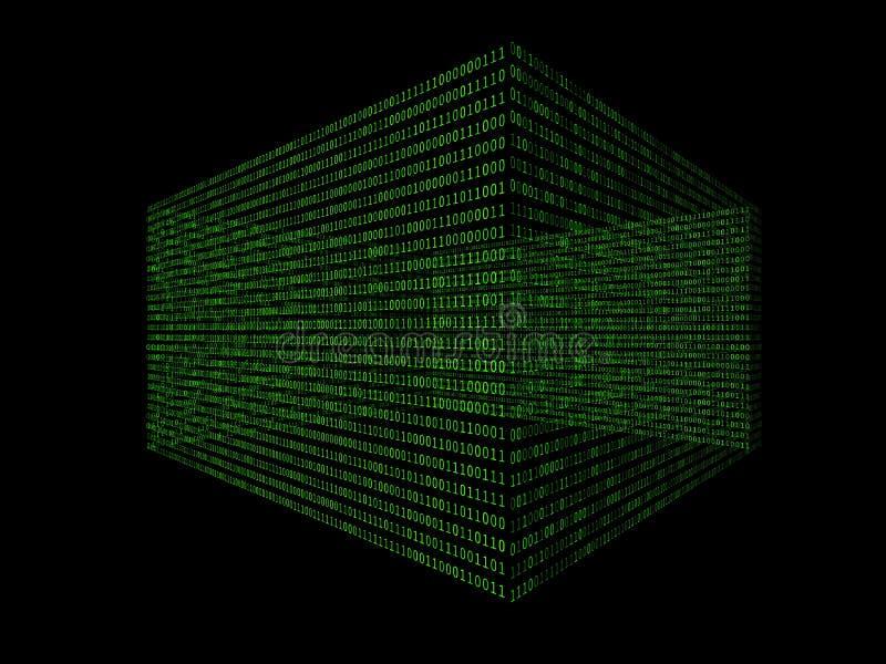 01 ou boîte de nombres binaire sur l'écran d'ordinateur sur le code de fond de matrice de moniteur, de mot de passe de données nu illustration de vecteur