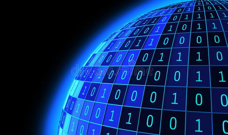 01 ou bola ou esfera dos números binários isolada no preto O tela de computador no fundo da matriz do monitor, código de dados de ilustração do vetor