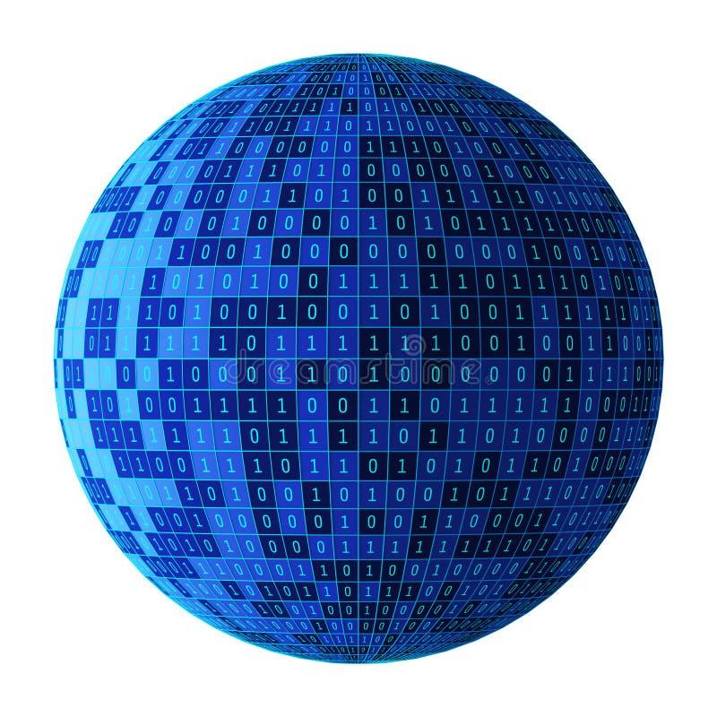 01 ou boule ou sphère de nombres binaire d'isolement sur le blanc L'écran d'ordinateur sur le fond de matrice de moniteur, code d illustration de vecteur