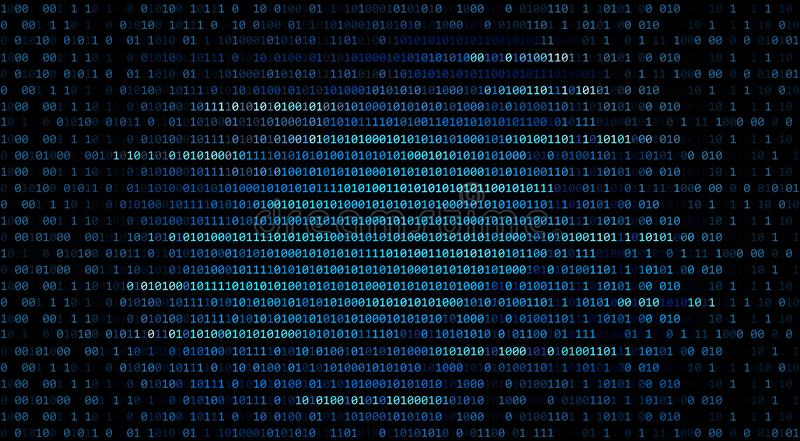 01 ou número de código binário no computador no technol dos dados digitais ilustração do vetor