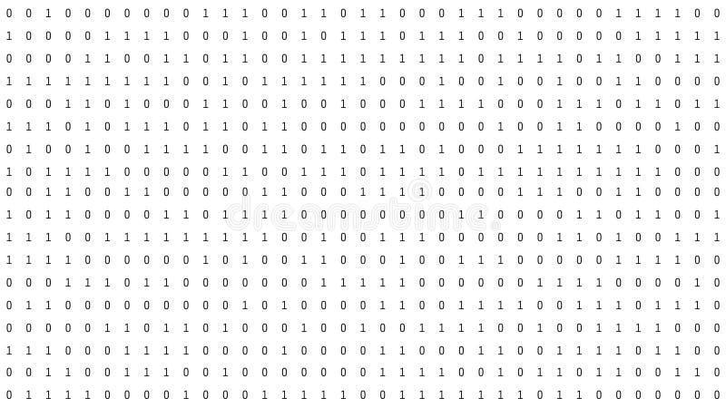 01 ou números binários no tela de computador no código do fundo da matriz do monitor, de dados de Digitas no hacker ou na seguran ilustração stock
