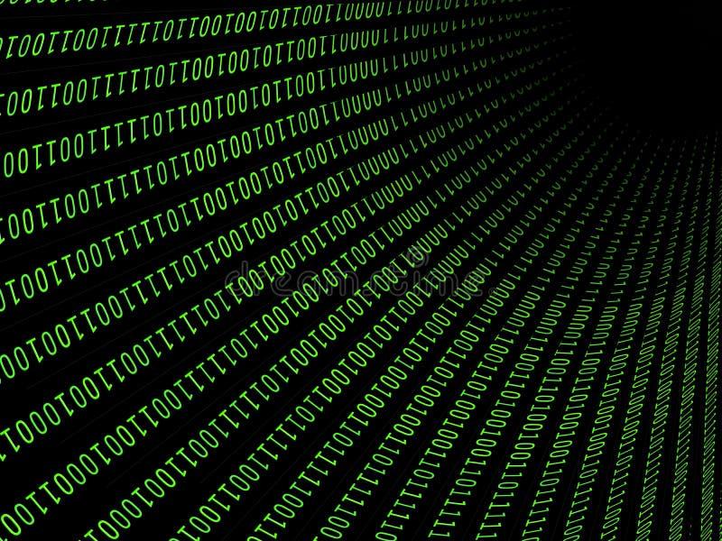 01 ou nombres binaire sur l'écran d'ordinateur sur le code de fond de matrice de moniteur, de mot de passe de données numériques  illustration de vecteur