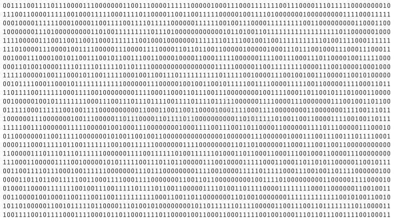 01 ou nombres binaire sur l'écran d'ordinateur sur le metrix blanc de fond de moniteur, le code de données numériques dans le pir illustration de vecteur