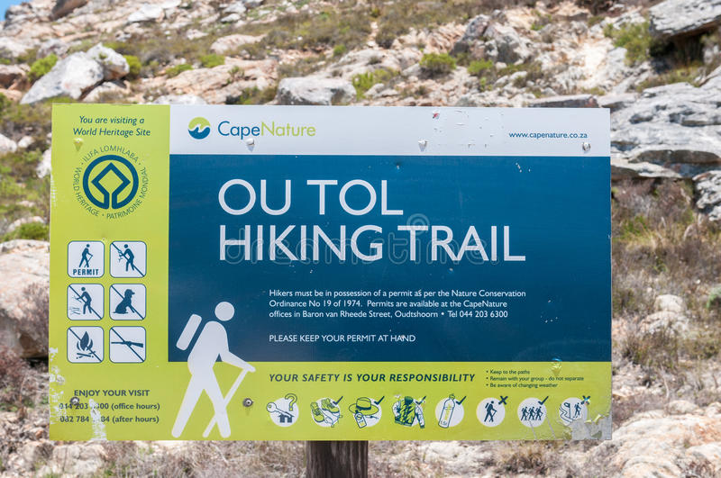 Ou Tol Hiking Trail sign in the historic Swartberg Pass. SWARTBERG PASS, SOUTH AFRICA - JANUARY 2, 2015: Ou Tol Hiking Trail sign in the historic Swartberg ( stock images