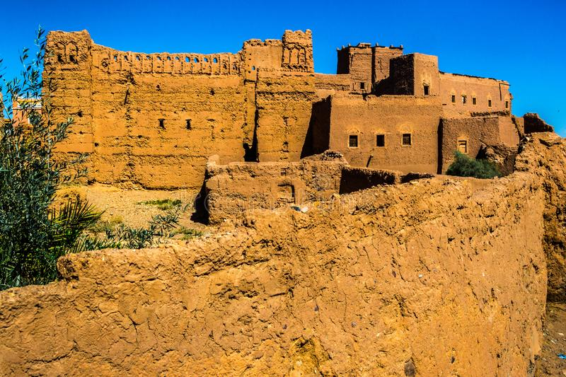 Ouarzazate kasbah in Morocco. Ouarzazate ksar, a typical little town in Morocco, near Sahara desert, made of clay stock images