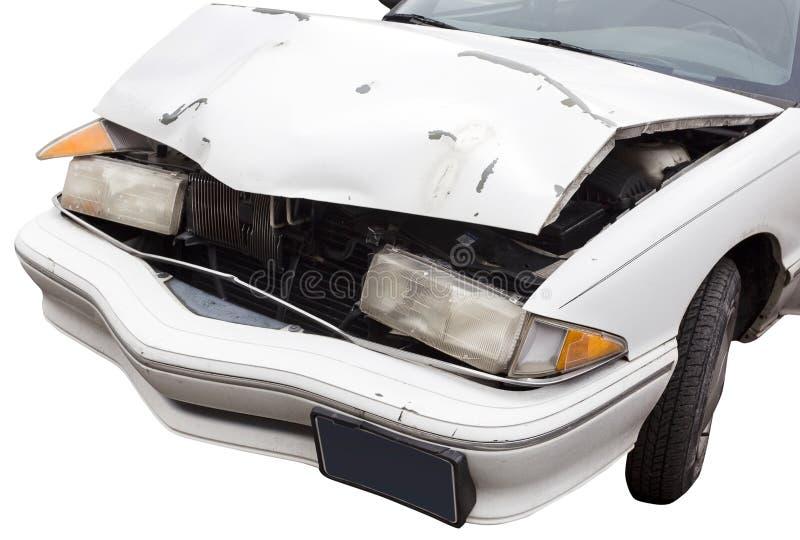 Ouch...Crumpled Car Hood stock photo