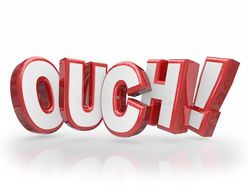 Ouch 3D słów Czerwoni listy Bolą urazu kaleczenie ilustracji