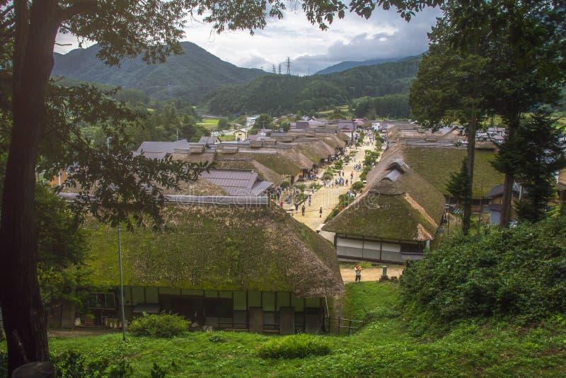 Ouchijuku es una ciudad de posts anterior a lo largo de la ruta comercial de Aizu-Nishi Kaido, que conectó Aizu imágenes de archivo libres de regalías