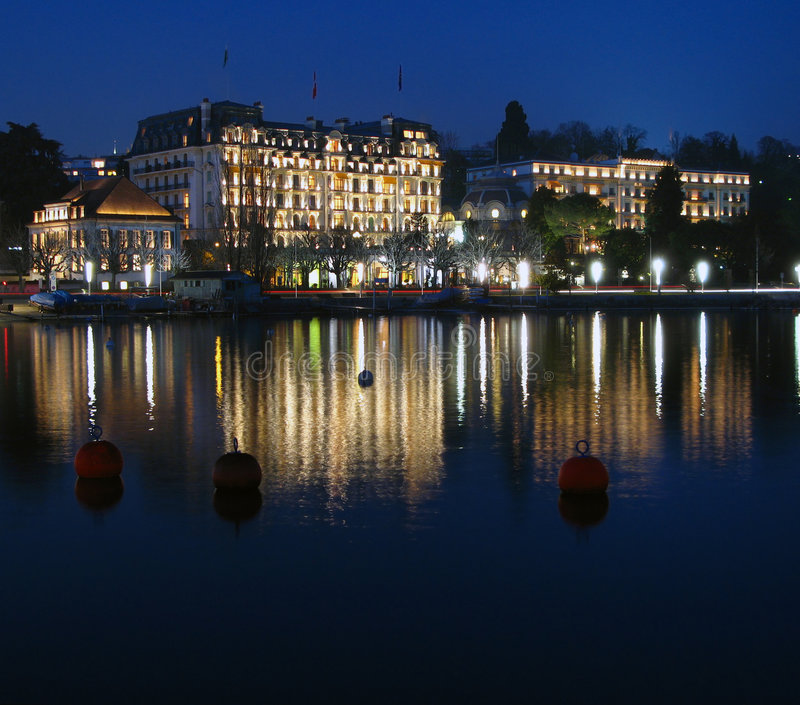 Ouchy lakeshore, Lausanne, Zwitserland royalty-vrije stock afbeeldingen