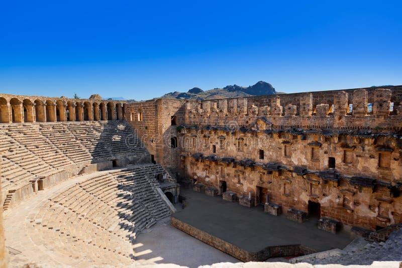 Oud amfitheater Aspendos in Antalya, Turkije royalty-vrije stock foto's