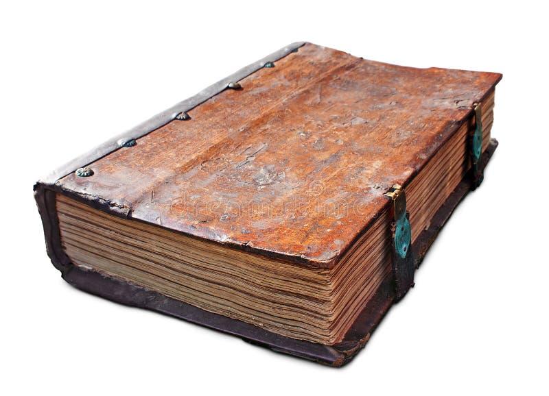 Oud antiek boek met greep stock afbeelding