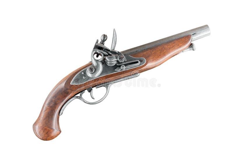 Oud antiek die pistool op witte achtergrond wordt geïsoleerd royalty-vrije stock foto