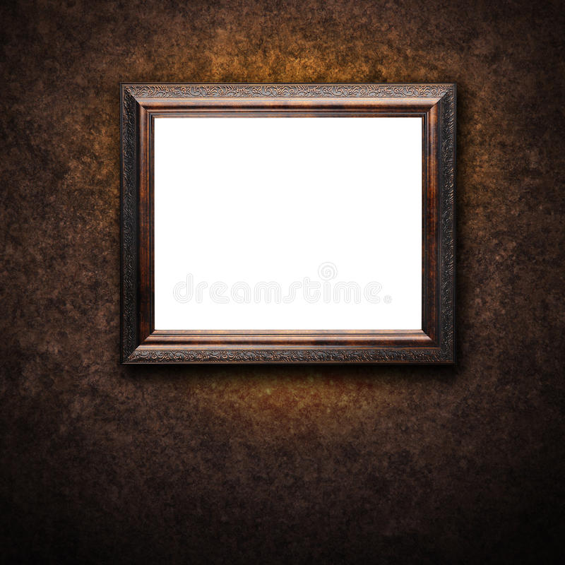 Oud Antiek Frame op Muur royalty-vrije stock foto's
