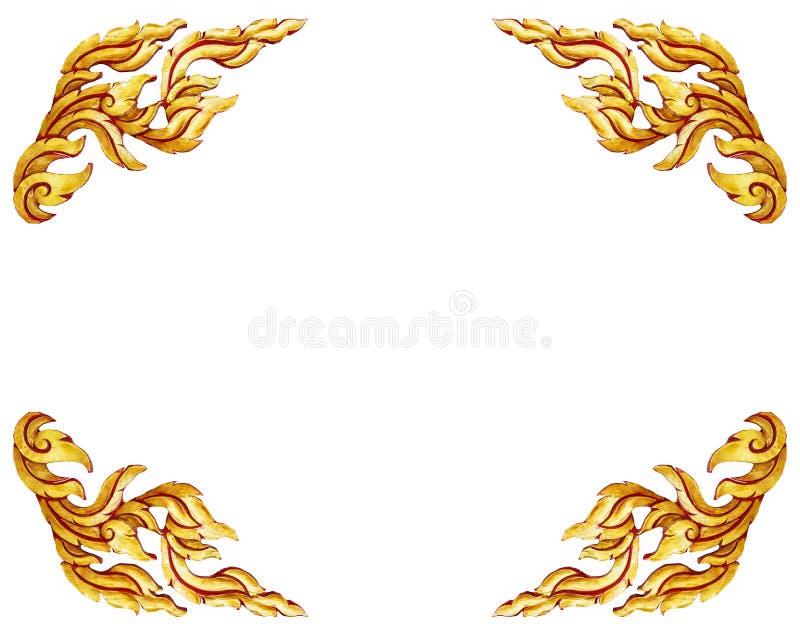 Oud antiek gouden Thais geïsoleerd de stijlpatroon van kader Houten deuren royalty-vrije illustratie