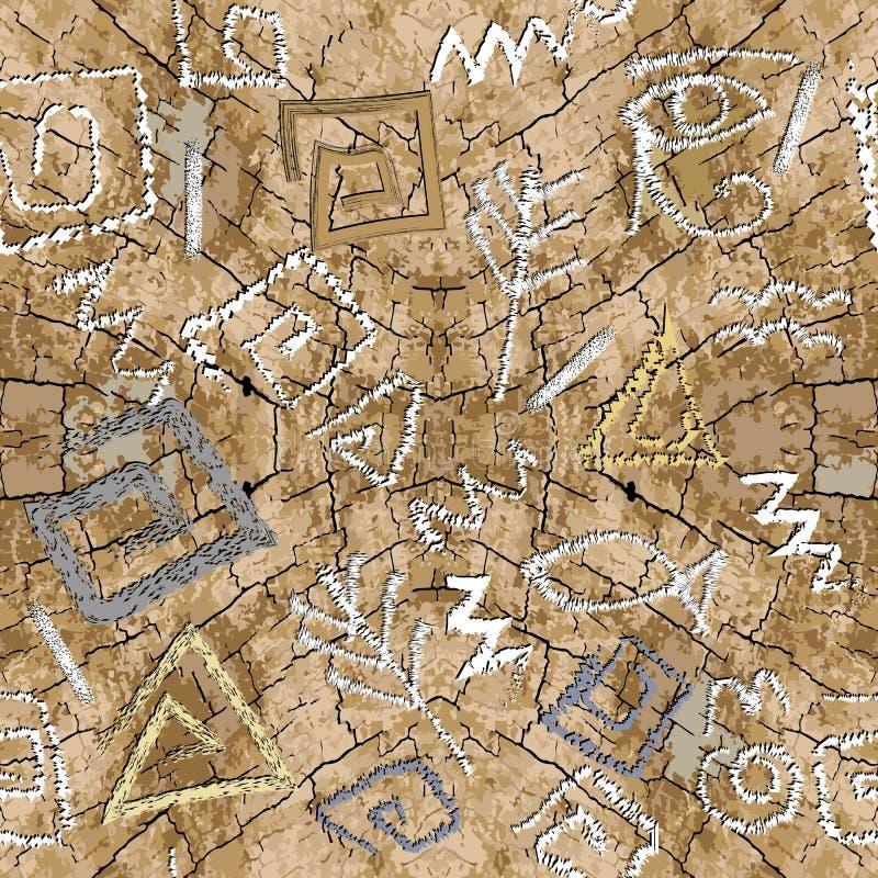 Oud antiek Grieks Egyptisch stijl vector naadloos patroon Geweven gebarsten grunge achtergrond Oude krabbel Griekse zeer belangri vector illustratie