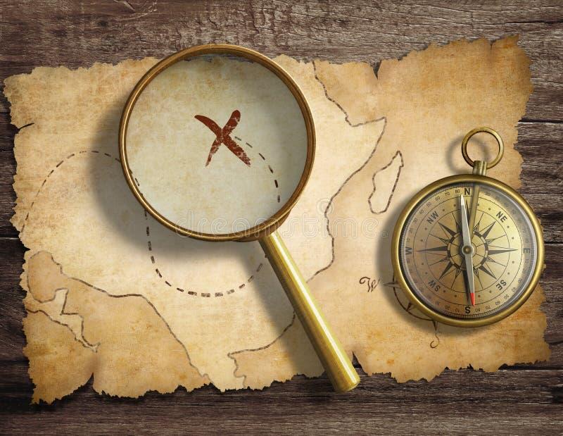 Oud antiek zeevaartkompas en vergrootglas vector illustratie