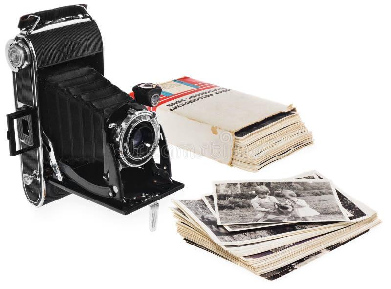 Oud, antiek, zwart, zakcamera Vooraanzicht voor de lens royalty-vrije stock fotografie