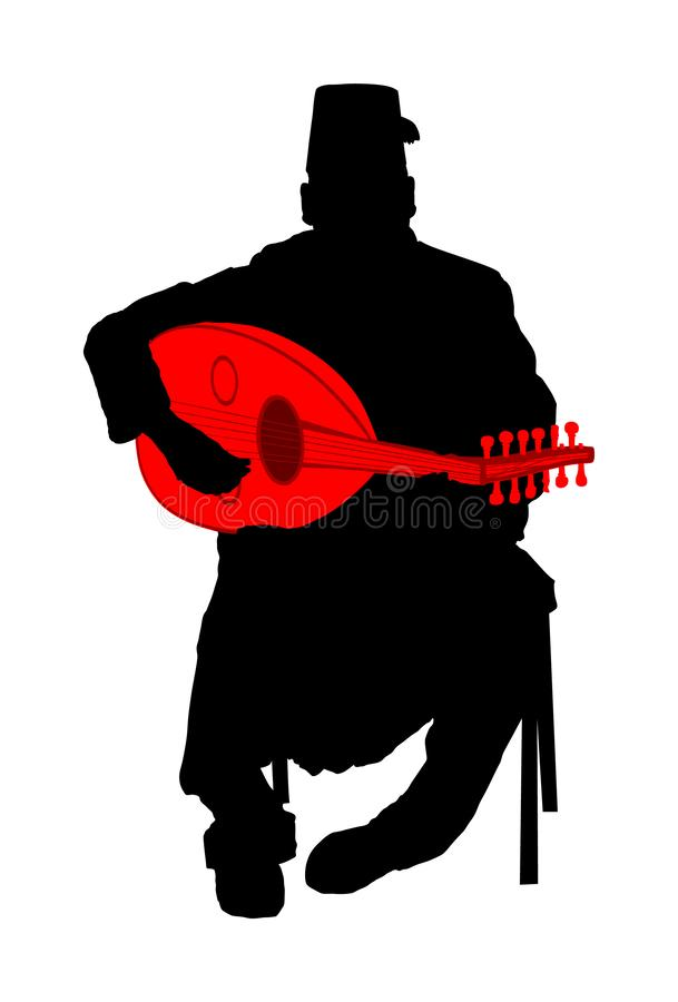 Oud arabo del gioco dell'uomo, liuto o siluetta di vettore di mandola, strumento di musica tradizionale dall'Asia Coltura islamic royalty illustrazione gratis