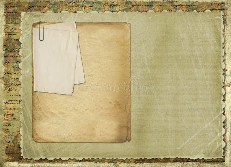 Oud archief met brieven, foto's vector illustratie
