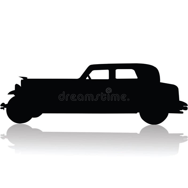Oud autosilhouet stock illustratie