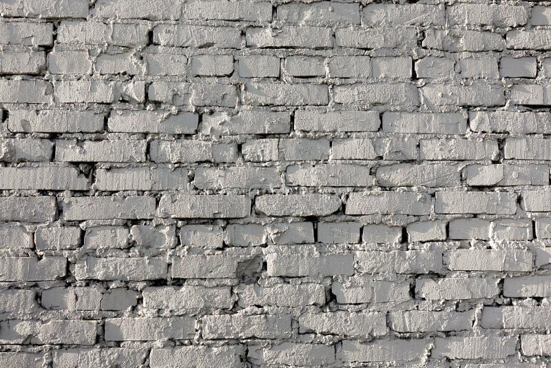 Oud bakstenen muurpatroon van witte kleur van moderne decoratieve ongelijk van de ontwerpstijl Close-up stock foto