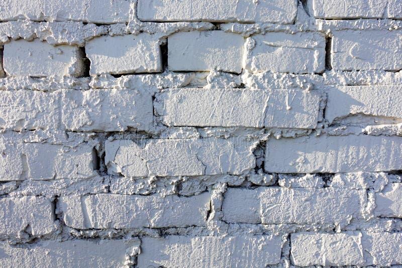 Oud bakstenen muurpatroon van witte kleur van moderne decoratieve ongelijk van de ontwerpstijl Close-up royalty-vrije stock foto