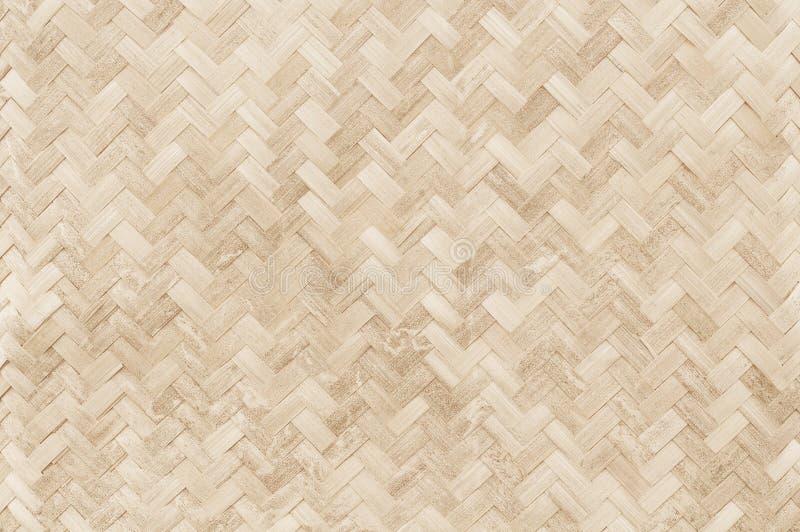 Oud bamboe wevend patroon, de geweven textuur van de rotanmat voor backgro stock foto's
