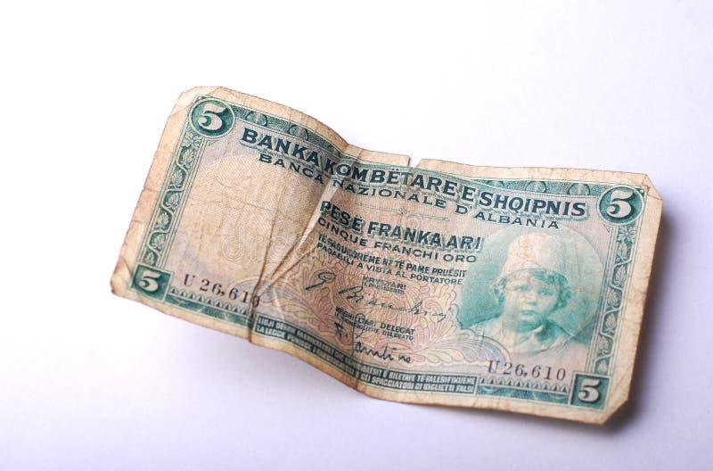 Oud Bankbiljet van Albanië, 5 lek stock fotografie