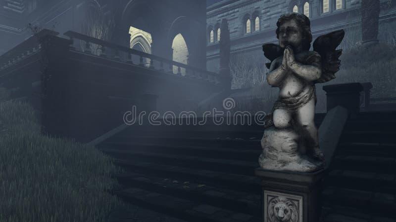 Oud beeldhouwwerk van Cupido bij nevelige nacht royalty-vrije stock afbeeldingen