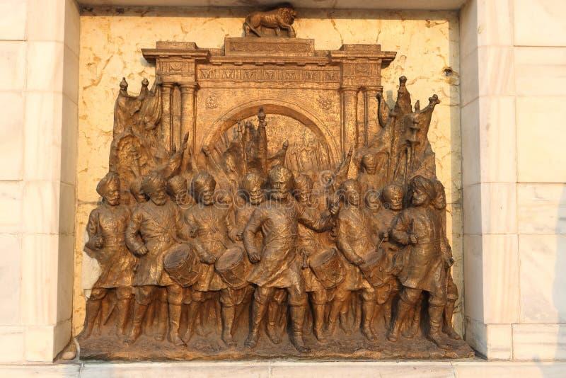 Oud beeldhouwwerk van het Indische mensen vieren royalty-vrije stock fotografie