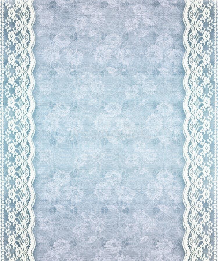 Oud Blauw BloemenKant stock illustratie