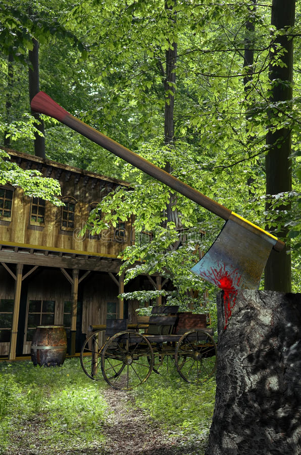 Huis in het hout stock illustratie
